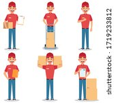 delivery worker collection... | Shutterstock .eps vector #1719233812