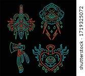 traditional tattoo line art...   Shutterstock .eps vector #1719325072