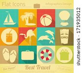 flat icons set   travel items... | Shutterstock .eps vector #171935012