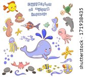 collection of marine animals... | Shutterstock . vector #171938435