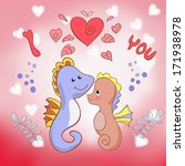 lovers seahorses greeting card... | Shutterstock . vector #171938978