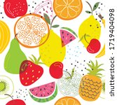 seamless vector with fruits on... | Shutterstock .eps vector #1719404098
