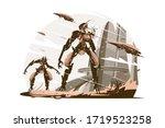 cyborgs on battle field vector... | Shutterstock .eps vector #1719523258