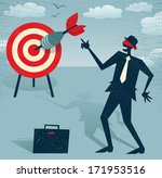 Abstract Businessman with Dart is Blindfolded. Great illustration of Retro styled Businessman who has an amazing sixth sense and can hit the target blindfolded. - stock vector