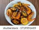 Menu Of Seafood Prawns Mixed...