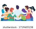 young happy friend male female... | Shutterstock .eps vector #1719605158