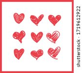 doodle hearts  hand drawn love... | Shutterstock .eps vector #1719612922