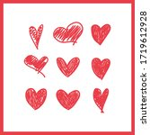doodle hearts  hand drawn love... | Shutterstock .eps vector #1719612928