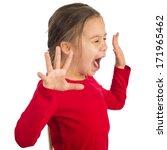 little girl is yelling... | Shutterstock . vector #171965462