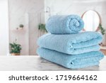 Fresh Towels On Marble Table In ...