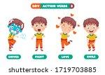 action verbs for children... | Shutterstock .eps vector #1719703885