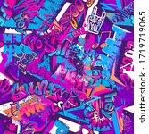 abstract seamless graffiti... | Shutterstock .eps vector #1719719065