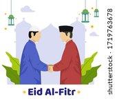 happy eid al fitr background... | Shutterstock .eps vector #1719763678