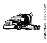semi truck black white heavy   Shutterstock .eps vector #1719774325