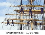 Sailors in the mast of an ancient teaching ship, during the tall ships race in Antwerp in 2006 - stock photo