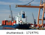 Container ship being unloaded at Antwerp world harbor (all brand names and logos have been removed) - stock photo