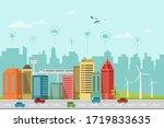 modern smart city flat design... | Shutterstock .eps vector #1719833635