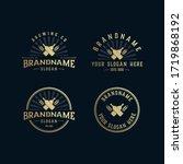 set vintage brewery logo ... | Shutterstock .eps vector #1719868192