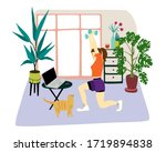 young woman doing her workout... | Shutterstock .eps vector #1719894838