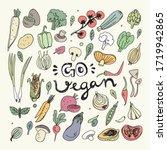 vegan food doodles. hand drawn...   Shutterstock .eps vector #1719942865
