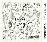 vegan food doodles. hand drawn... | Shutterstock .eps vector #1719942868