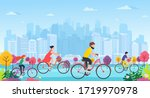 people on bicycles in park....   Shutterstock .eps vector #1719970978