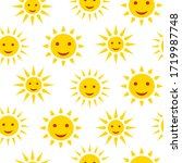 sun smile with rays seamless... | Shutterstock .eps vector #1719987748