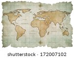 aged world map isolated on white | Shutterstock . vector #172007102