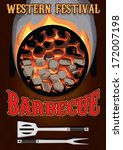 Retro Poster With Hot Coals For ...