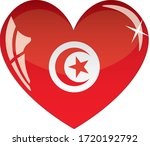 Tunisia Flag In Heart With...