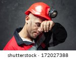 portrait of tired coal miner... | Shutterstock . vector #172027388