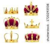 gold crown. realistic golden... | Shutterstock .eps vector #1720293538