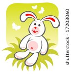 cartoon happy rabbit sitting on ... | Shutterstock . vector #17203060
