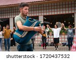 Small photo of Rize / Turkey - August 06 2019: Bagpiper playing bagpipe on the street in wedding ceremony. Tulum is a bagpipe-like instrument is popular in black sea region in Turkey.