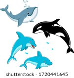 set of vector whales and... | Shutterstock .eps vector #1720441645