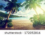 Stock photo sunset on the beach takamaka mahe island seychelles 172052816