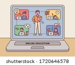 laptop screen. the teacher is... | Shutterstock .eps vector #1720646578
