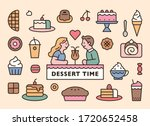 Sweet Dessert Icons And Cute...