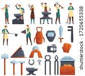 Blacksmith Icons Set. Cartoon...