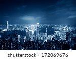 hong kong cityscape at night... | Shutterstock . vector #172069676