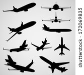 airplane silhouettes   eps10... | Shutterstock .eps vector #172069835