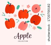 red apples collection  doodle... | Shutterstock .eps vector #1720700182