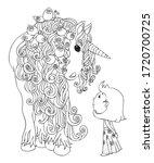 unicorn with cute little girl....   Shutterstock .eps vector #1720700725
