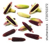 Small photo of Fresh red corn isolated on white background. Siam Ruby Queen or Red corn of sweet corn. Grains of ripe corn with clipping path. Can be eaten fresh.