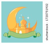 mosque with moon in the... | Shutterstock .eps vector #1720751932