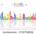 colourful famous landmarks... | Shutterstock .eps vector #1720758838