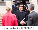 male graduate handshaking with... | Shutterstock . vector #172080515