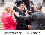 handsome male graduate being... | Shutterstock . vector #172080545