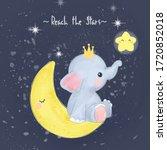 cute baby elephant illustration ... | Shutterstock .eps vector #1720852018