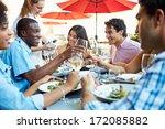 group of friends enjoying meal...   Shutterstock . vector #172085882